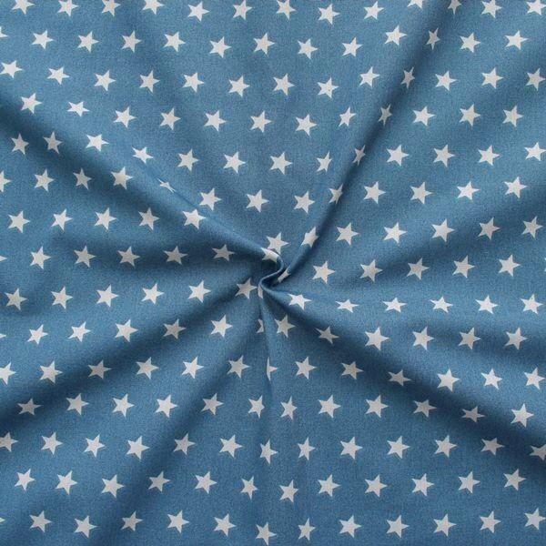 100% Baumwolle Popeline Sterne mittel Jeansblau Grau