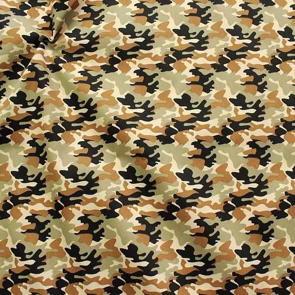 Baumwolle Popeline Camouflage Khaki
