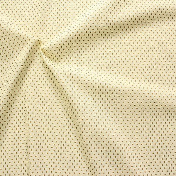Baumwolle Popeline Gold Punkte klein Creme-Weiss