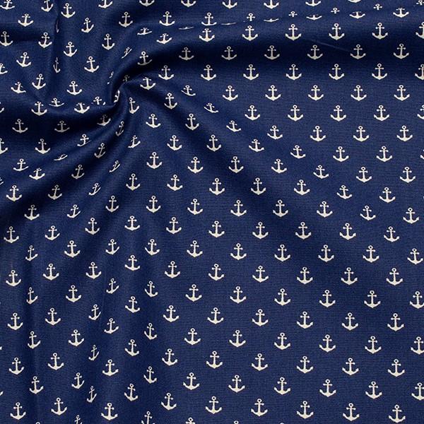 Baumwollstoff Anker klein Dunkel-Blau
