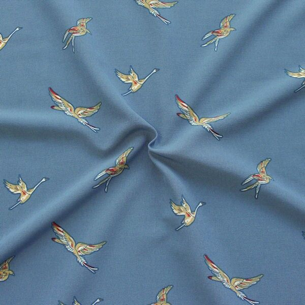 Crêpe Modestoff  Wildgänse Tauben-Blau