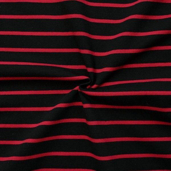 """Sweatshirt Baumwollstoff French Terry """"Querstreifen Duo"""" Farbe Schwarz-Rot"""