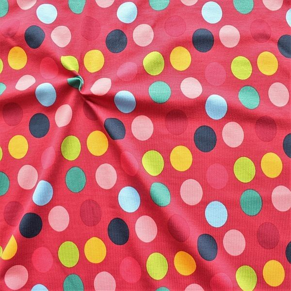 Baumwoll Stretch Jersey Colorful Dots Fuchsia