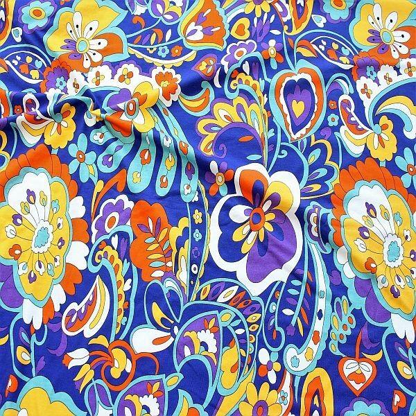 Baumwoll Stretch Jersey Hippie Flowers Blau-Multicolor