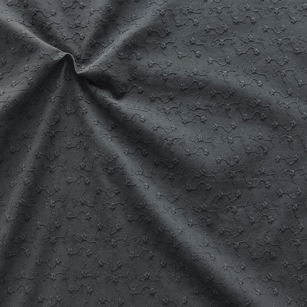 Baumwollstoff bestickt Blütenranken Schwarz