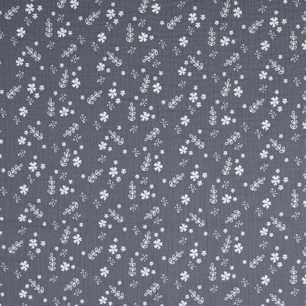 Baumwolle Musselin Double Gauze Blüten Mix Dunkel-Grau