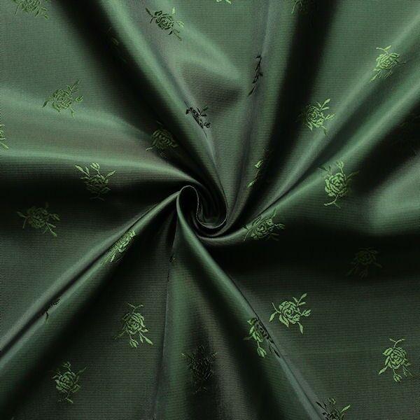 """Jacquard Futterstoff """"Rosen"""" Farbe Flaschen-Grün"""