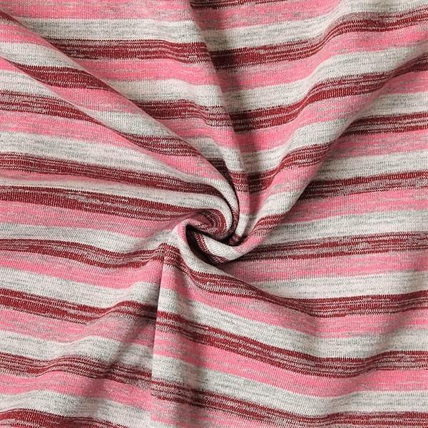 Sweatshirt Baumwollstoff Melange Streifen Rosa-Rot
