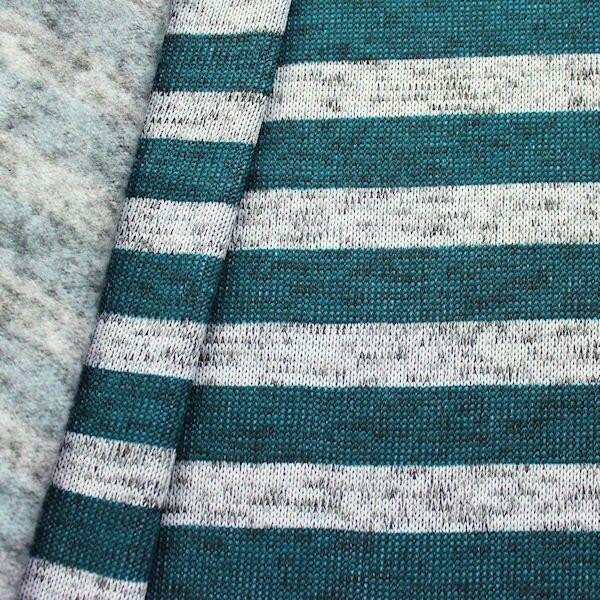 Strick Fleece Streifen Melange Grau-Petrol