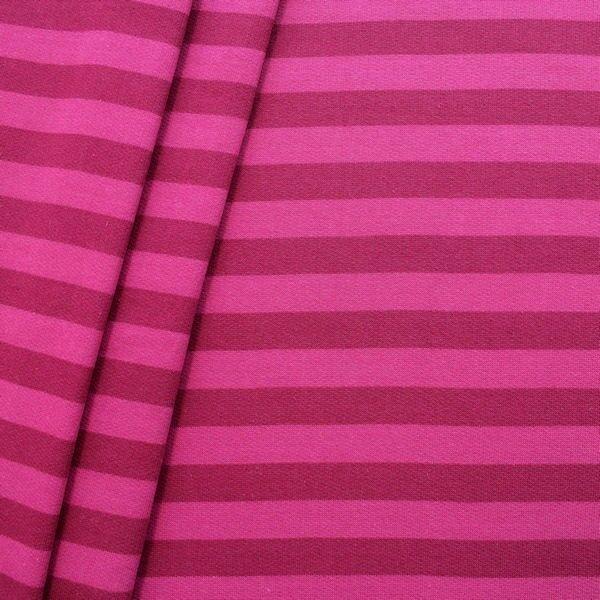 """Sweatshirt Baumwollstoff """"Streifen Duo"""" Farbe Pink-Fuchsia"""