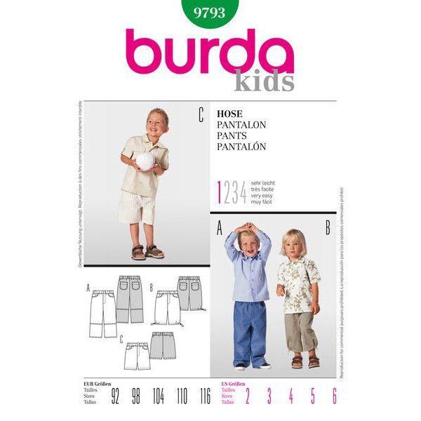 Burda 9793 Mehrgrößenschnittmuster für Hose in drei Varianten mit langen, 7/8-langen Hosenbeinen und als Bermuda