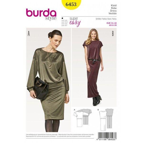Kleid – Jerseykleid – überschnittene Schultern, Gr. 34 - 46, Schnittmuster Burda 6453