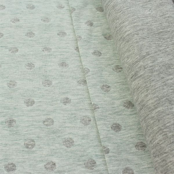 Jacquard Jersey Two Tone Punkte Mint-Grau meliert