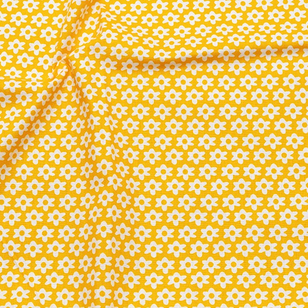 Baumwolle Popeline Blümchen Gelb
