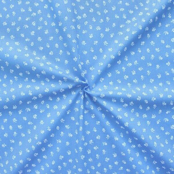 100% Baumwollstoff Trachten Blümchen Blau