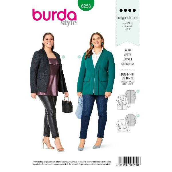 Jacke mit V-Ausschnitt  – am Halsausschnitt hochgeschnitten , Gr. 44 - 54, Schnittmuster Burda 6258