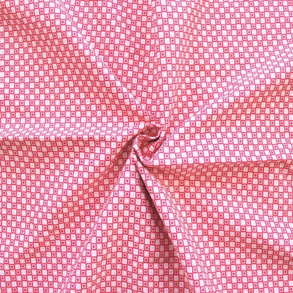 "100% Baumwolle Popeline ""Squares and Dots"" Farbe Pink-Rosa Weiss"