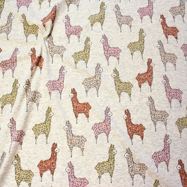 Baumwoll Stretch Jersey Alpacas Ecru-Grau meliert