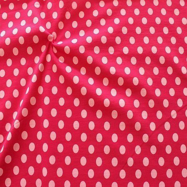 Sweatshirt Baumwollstoff Punkte Pink-Rosa