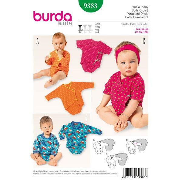 Burda 9383 Schnittmuster für Wickelbody für Mädchen und Jungen