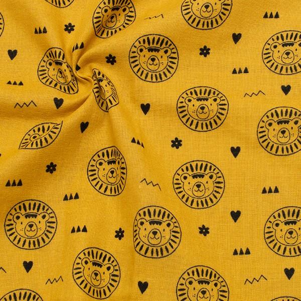 Baumwollstoff Musselin Löwenköpfe Ocker-Gelb