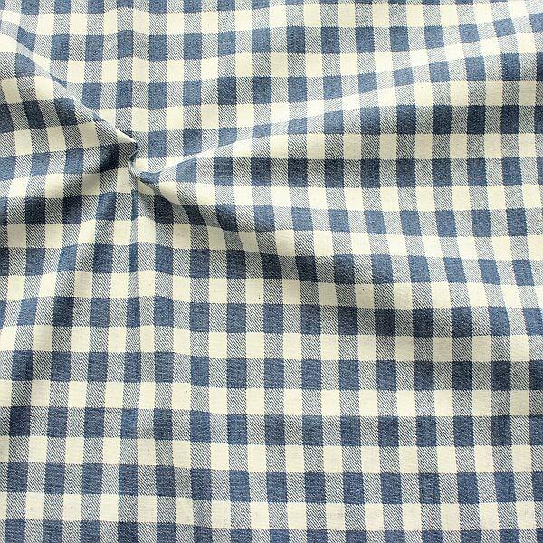 Baumwollstoff Denim Check Jeans-Blau Ecru