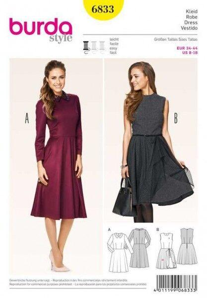 Kleid – Taillennaht – glockiger Rock, Gr. 34 - 44, Schnittmuster Burda 6833