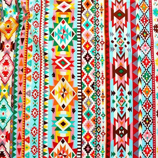Dekostoff Canvas Optik Azteken Style Multicolor
