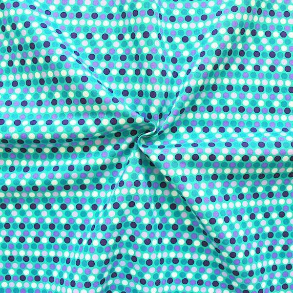 "100% Baumwolle Popeline ""Summer Dots Mix"" Farbe Mint-Grün Lila"