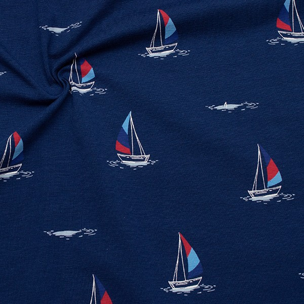 Baumwoll Stretch Jersey Segelschiffe Navy-Blau