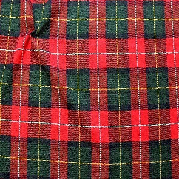 Wollmix Stoff Scottish Checks Rot-Grün