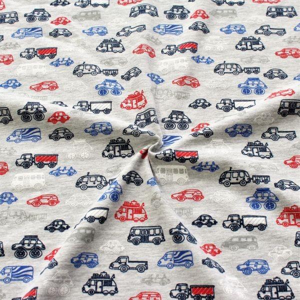 Baumwolle Stretch Jersey Kleine Autos Grau meliert