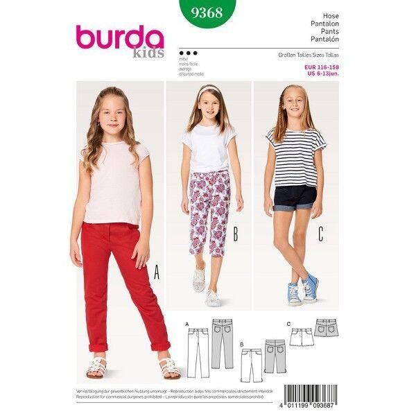 Hose - Jeans - Short - 3/4 Hose, Gr. 116 - 158, Schnittmuster Burda 9368