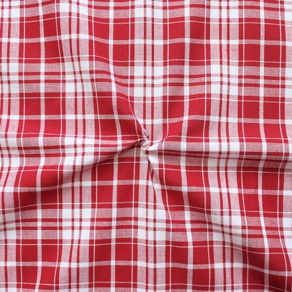 "100% Baumwollstoff ""Fashion Check"" Farbe Rot-Weiss"