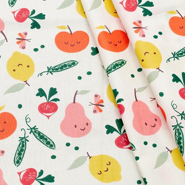 100% Baumwolle beschichtet Happy Fruits Weiss