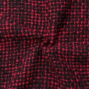 Bouclé Strick- Modestoff Artikel Caro Farbe Schwarz-Rot