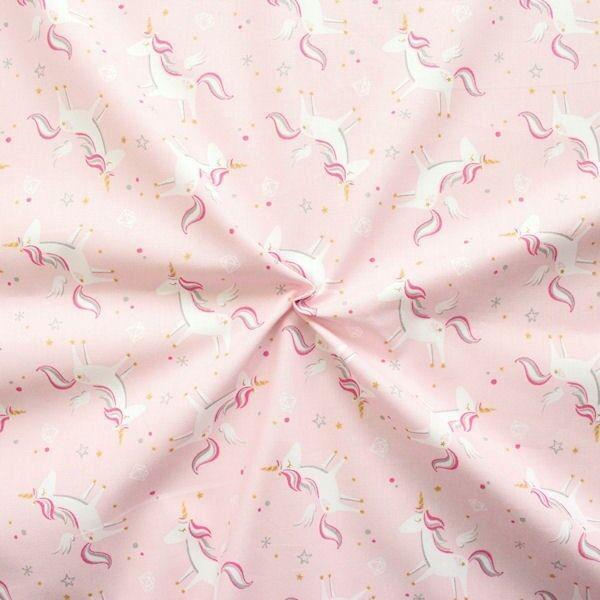 100% Baumwolle Popeline Einhörner Rosa