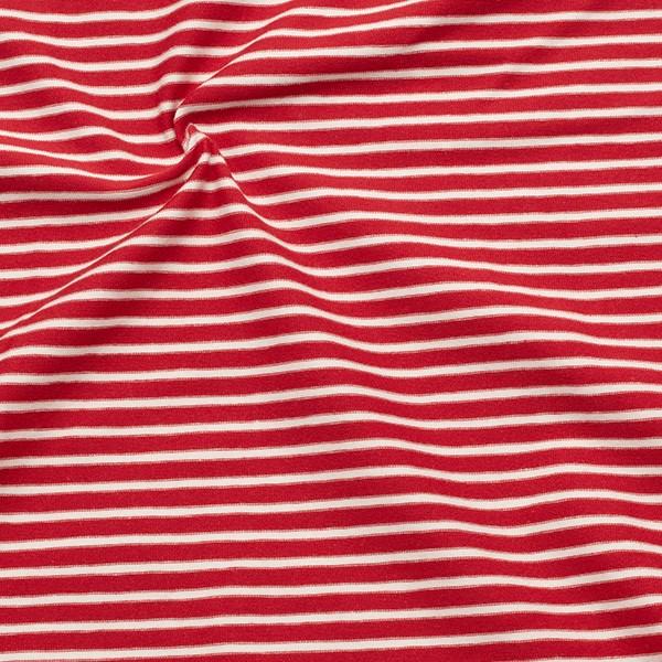 Baumwoll Stretch Jersey Ringel Rot-Weiss