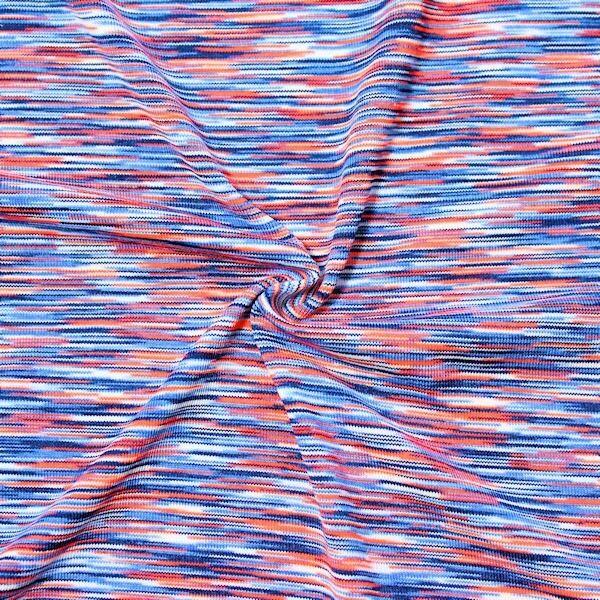 """3,00 Meter Bi-Stretch Sport Jersey """"Space Mix"""" Farbe Blau-Orange"""