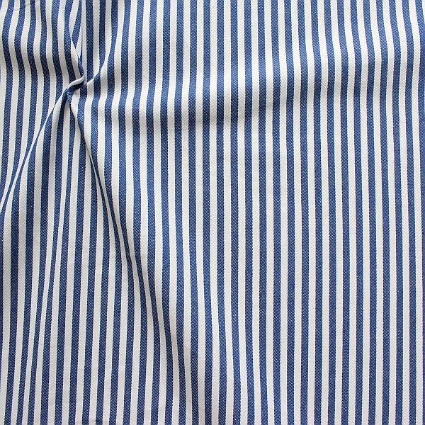Baumwolle Denim Jeans Stoff Streifen Mittel Royal-Blau Weiss
