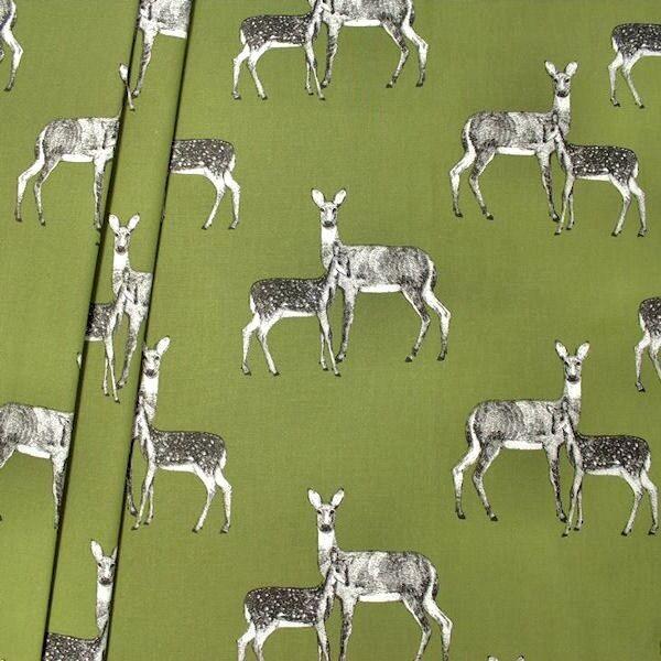 Dekostoff Halbpanama Deer Oliv-Grün