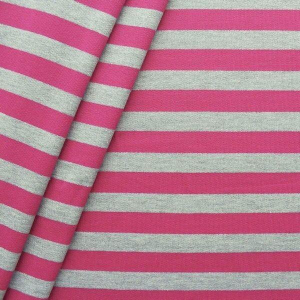"""Sweatshirt Baumwollstoff """"Streifen Duo"""" Farbe Grau-Pink"""