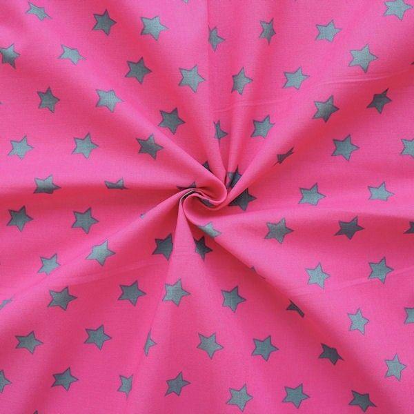 "100% Baumwollstoff ""Sterne Groß"" Farbe Pink-Grau"