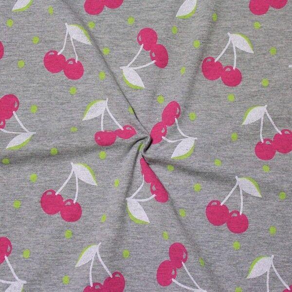 """Baumwoll Stretch Jersey """"Glitter Cherrys"""" Farbe Grau meliert"""