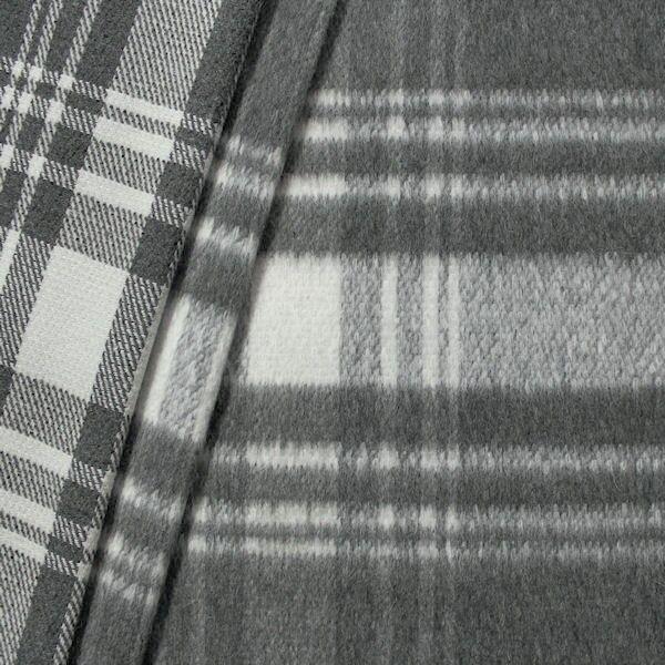 Doubleface Wollmix Winter Karo XXL Grau-Weiss