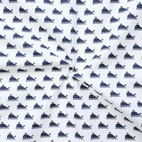 """100% Baumwollstoff """"Wal klein 2"""" Farbe Weiss Navy-Blau"""