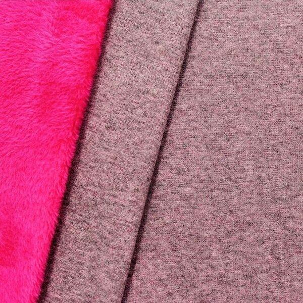 3,00 Meter Alpenfleece Sweatshirt Farbe Grau meliert Pink