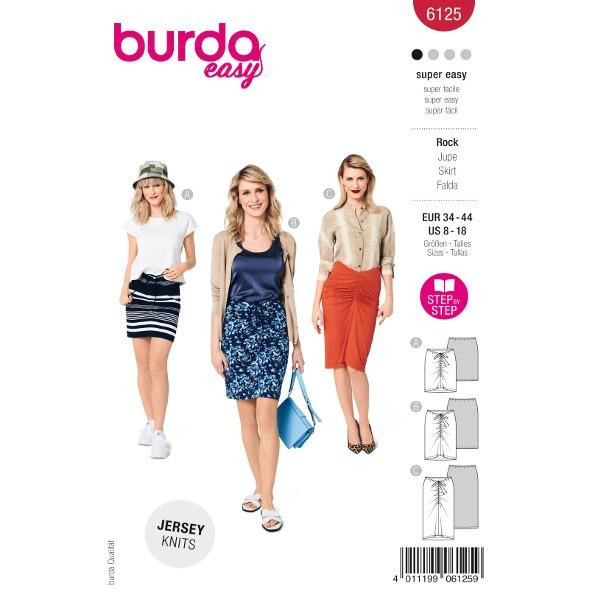 Röcke mit Raffungen in verschiedenen Längen, Gr. 34 - 44 Schnittmuster Burda 6125