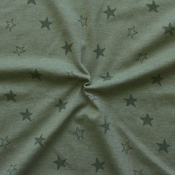 Baumwoll Stretch Jersey Sterne Mix Melange Khaki-Grün