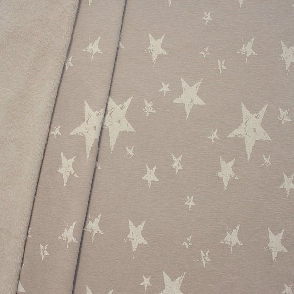 Alpenfleece Sweatshirt Sterne Mix Used Look Beige melange